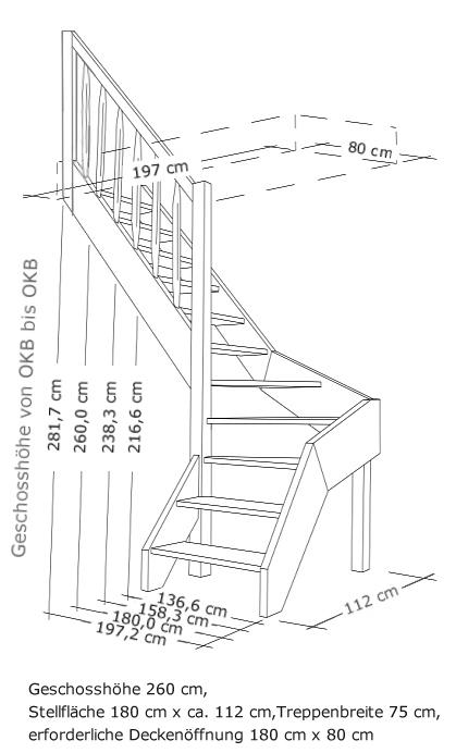 raumspartreppe f r den kleinen platz 1 4 wendelung 75 cm breit. Black Bedroom Furniture Sets. Home Design Ideas