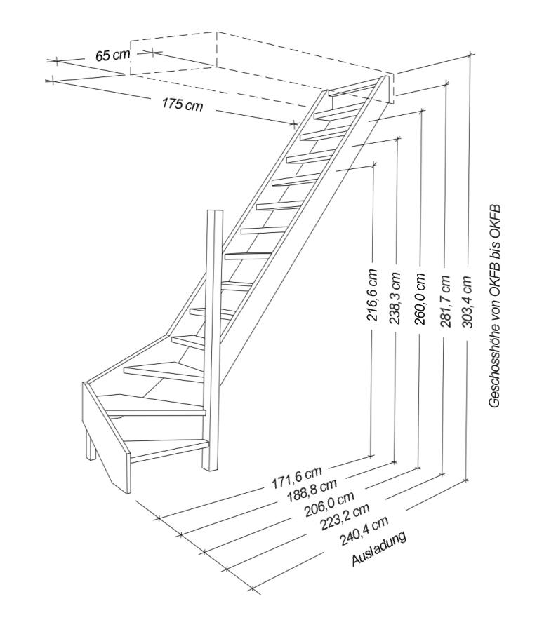 raumspartreppe mit gel nder alu sprossen 1 4 wendelung. Black Bedroom Furniture Sets. Home Design Ideas